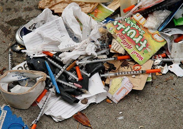 Drug injection needles on the street